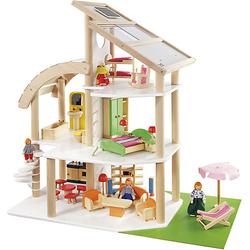 """Puppenhaus """"Strandvilla"""" inkl. 21-tlg. Möbelset + 4 Puppen"""