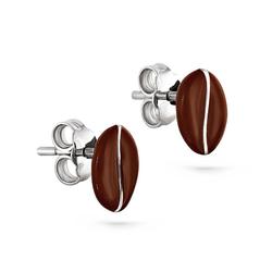 Silberne Ohrringe in Form einer Kaffeebohne mit Emaille