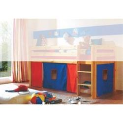 Vorhang Kasper 4-tlg 100% Baumwolle inkl. Befestigung ( 2x Klettband ) blau / rot