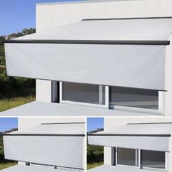 Elektrische Vollkassetten-Markise H124, 4,5x3m ausfahrbarer Volant ~ Acryl Creme, anthrazit
