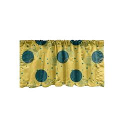 Scheibengardine Vorhang Volant für Küche Schlafzimmer Dekor mit Stangentasche, Abakuhaus, Retro Zitronenscheiben und Punkt-Muster