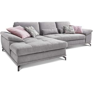 Cavadore L-Form-Sofa Castiel mit Federkern / Große Eckcouch mit Sitztiefenverstellung und XL-Longchair / 312 x 89 x 173 / Webstoff, Hellgrau