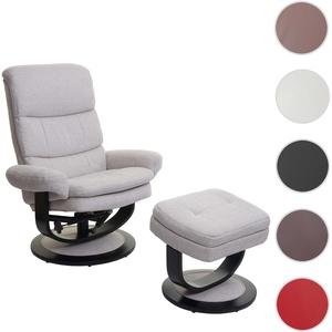 Relaxsessel HWC-C16, Fernsehsessel TV-Sessel Hocker mit Staufach ~ Stoff/Textil creme-beige