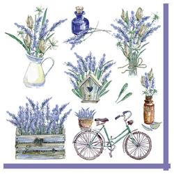 Linoows Papierserviette 20 Servietten, geschmückte Landhaus Szenen mit, Motiv geschmückte Landhaus Szenen mit Lavendel