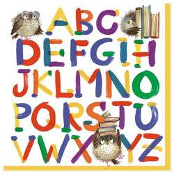 Linoows Papierserviette 20 Servietten Einschulung, Alphabet mit Eulen und, Motiv Einschulung, Alphabet mit Eulen und Bücher