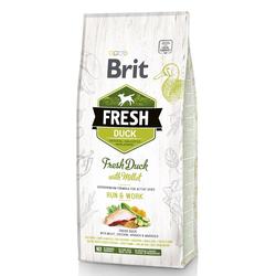 Brit Fresh Adult Duck & Millet, Run & Work, Hundefutter für aktive Hunde (12 kg)