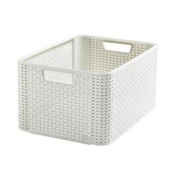 CURVER STYLE Korb, L, Aufbewahrungskorb aus Kunststoff, Farbe: creme