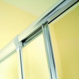 Breuer Fara 4 Eckeinstieg 2-tlg. 70-80 x 70-80 x 185 cm Alu silber matt/Kunststoffglas Perle