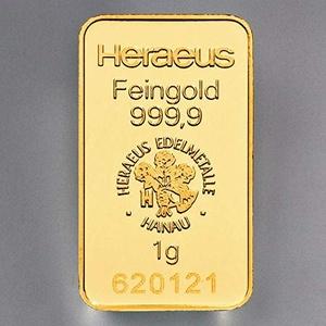 Heraeus 1g Barren, Feingold, Gold