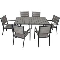 Garden Pleasure Gartenmöbelset OLIVIA, 5-tlg., 4 Stühle, Tisch, Alu/Non-Wood, grau