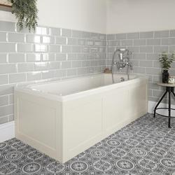 Einbau-Badewanne mit Verkleidung in Antikweiß 1700 x 750mm - Richmond, von Hudson Reed