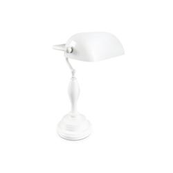 relaxdays Schreibtischlampe Bankerlampe SHABBY weiß