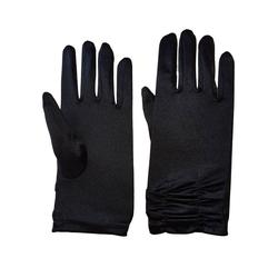 Family Trends Abendhandschuhe Satin Damen Handschuhe kurz mit Raffung dehnbar im Satin-Look schwarz
