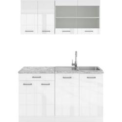 VICCO Küchenzeile SINGLE Einbauküche 140 cm Küchen Weiß Hochglanz R-LINE
