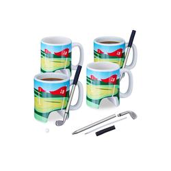 relaxdays Tasse 4 x Golftasse mit Schläger, Keramik
