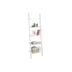 SoBuy Leiterregal FRG17, Standregal Bücherregal Badregal Wandregal mit 5 Ebenen weiß 56 cm x 189 cm x 32.5 cm