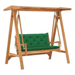 vidaXL Hollywoodschaukel vidaXL Hollywoodschaukel mit Grüner Auflage 170 cm Massivholz Teak