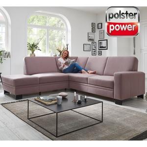 polsterpower Ecksofa - flieder - Basismodell - Anstellhocker links