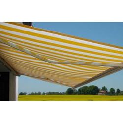 Elektrische Kassettenmarkise H124, Markise Vollkassette 5x3m ~ Polyester Gelb/Weiß