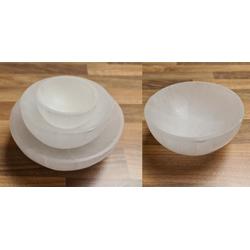 Heimtex Salzkristall-Tischlampe Selenit Kristall Runde Schale 10 cm