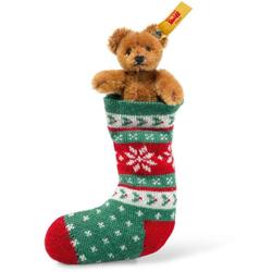 Steiff 026775 Mini Teddybär in Socke, Mohair, 8 cm, rotbraun