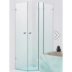 Sprinz Saphir Fünfeck-Duschwand mit 2 Duschtüren und 2 Festteilen an Badewanne