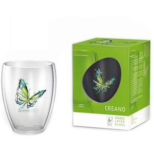 Creano doppelwandiges Tee-Glas, Latte Macchiato, Thermobecher Schmetterling | 250ml in exklusiver Geschenkbox (Grün)