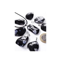 Adelia´s Kettenanhänger Schneeflockenobsidian Anhänger Schneeflocke 925 Silber