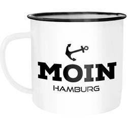 MoonWorks Tasse Emaille Tasse Becher Moin Hamburg Anker Kaffeetasse Moonworks®, emailliert und mit Aufdruck
