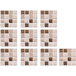 Fliesenaufkleber 10 Blätter 3D Fliesenaufkleber Mosaik DIY wasserdichte Selbstklebende Wandaufkleber Sticker, 10x10cm, Wanddeko für Küche, Schlafzimmer, Wohnzimmer (A)