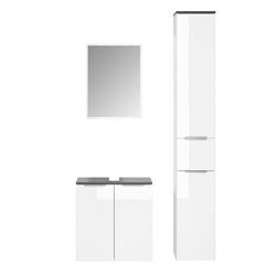 Vicco Badmöbel-Set OTIS Weiß - Hochschrank Waschtischunterschrank Spiegel
