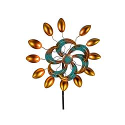 Kremers Schatzkiste Gartenfigur Buntes Windrad Blume für den Garten aus Metall