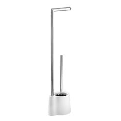 WENKO Avola Stand WC-Garnitur, Kombination aus offenem Toilettenbürstenhalter und Toilettenpapier-Rollenhalter, Farbe: weiß