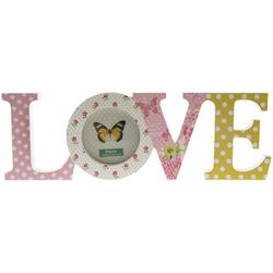 elbmöbel Bilderrahmen Deko Schriftzug LOVE bunt, für 1 Bilder, Bilderrahmen: Dekoration Love 37x12x2 cm bunt