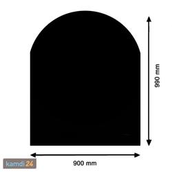 Kamin Glasplatte Zunge groß, schwarz
