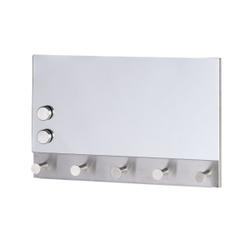WENKO Mirror Magnetische Garderobe, Hakenleiste mit 5 Haken, auch als Schlüsselbrett geeignet, Maße: 30 x 19 cm