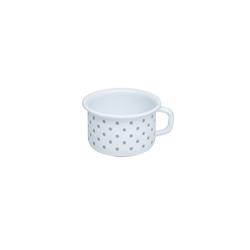 Riess Tasse Kaffeeschale Emaille Pünktchen Grau, Emaille