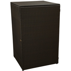 gartenmoebel-einkauf Mülltonnenbox für Tonnen bis 120 Liter, 64x66x109cm, Stahl + Polyrattan Geflecht Mocca