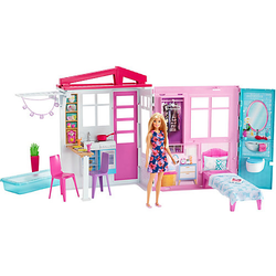 Barbie® Ferienhaus mit Möbeln und Puppe (blond), Puppenhaus mit Zubehör