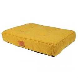 Retro Hundekissen Eve im Chesterfield-Look, gelb, 90 x 65 x 12 cm