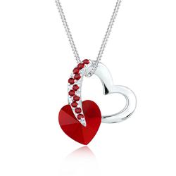 Elli Elli Halskette Herz Love Rosa Kristalle 925 Silber