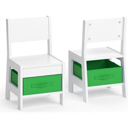 VICCO Kinderstuhl 2er Set STELLA mit Aufbewahrungsboxen Holz Kindermöbel Stuhl-Grün