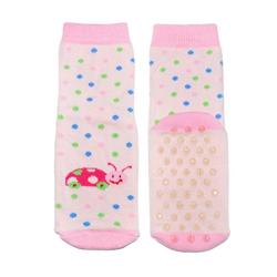 WERI SPEZIALS Strumpfhersteller GmbH ABS-Socken Kinder ABS-Socken für Mädchen >>Käferchen<< mit Baumwolle rosa 17-18