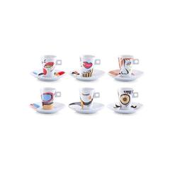 Zeller Present Espressotasse Faces, (Set, 12 tlg.), 6 Tassen, Untertassen bunt Becher Tassen Geschirr, Porzellan Tischaccessoires Haushaltswaren