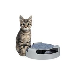 relaxdays Tier-Kugelbahn Katzenspielzeug Kugelbahn mit Maus, PP grau