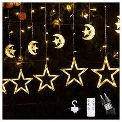 Quntis LED-Lichterkette, Sterne Mond, Fernbedienung mit Timer 2 m