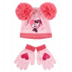 Disney Minnie Set Mütze und Handschuhe, Gr. 52-54, Pink, 52