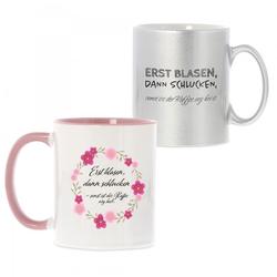 """Keramiktasse """"Erst blasen, dann schlucken, sonst ist der Kaffee arg"""