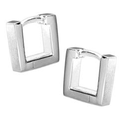 Vinani Paar Creolen, Vinani Klapp-Creolen viereckig klein mattiert Sterling Silber 925 Ohrringe CSQ