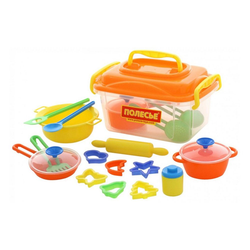 Polesie Spielgeschirr Spielzeug 56634, 20-teiliges Koch- und Backzubehör-Set, Kinderküche